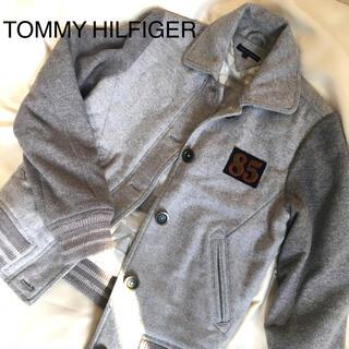 トミーヒルフィガー(TOMMY HILFIGER)のトミー  ヒルフィガー★スタジャン★グレイ灰色グレーギンガムチェックレディースS(スタジャン)