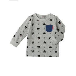 DOUBLE.B - 【90サイズ】ダブルビー デニムポケット付き総柄長袖Tシャツ