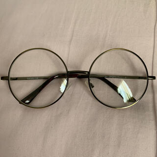 ジーユー(GU)のダテメガネ 丸メガネ ファッショングラス GU ゴールド カーキ ビッグサイズ(サングラス/メガネ)