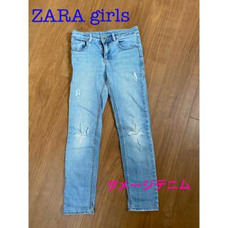 ザラキッズ(ZARA KIDS)のZara girls  ダメージデニム(パンツ/スパッツ)