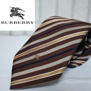BURBERRY BLACK LABEL - バーバリー ブラックレーベル ストライプ ブラウン スーツ 刺繍ロゴ シルク