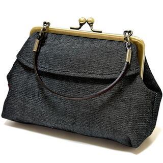 新品 がま口 ミニトート ポーチ バッグインバッグ 日本製 黒 ブラック