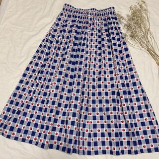 Lochie - Vintage 古着《りんごプリントギンガムチェックスカート》ブルー アップル