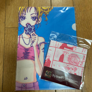 【ご近所物語】クリアファイルとハンカチ(ピンク)セット(クリアファイル)