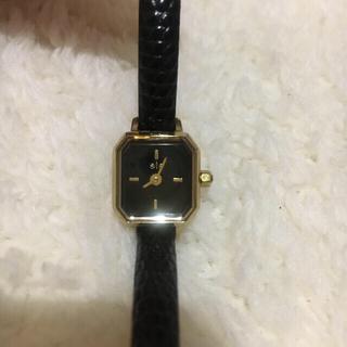 ete - eteスクエアレザー時計 黒