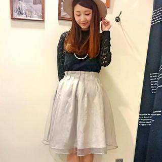 ミスティウーマン(mysty woman)のオーガンジースカート(ひざ丈スカート)