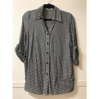 モエリー(MOERY)のモコアズ 七分袖 襟付きボタンシャツ ギンガムチェック 白黒 フリーサイズ(シャツ/ブラウス(長袖/七分))