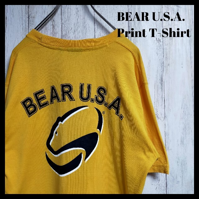Bear USA(ベアー)のベアー Bear USA ロゴ Tシャツ イエロー メンズのトップス(Tシャツ/カットソー(半袖/袖なし))の商品写真
