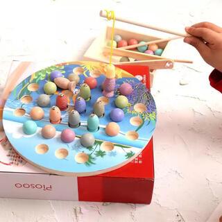 モンテッソーリ 木製 型はめ パズル 魚釣り あけ移し お箸の練習  知育玩具