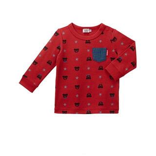 DOUBLE.B - 【100サイズ】ダブルビー デニムポケット付き総柄長袖Tシャツ