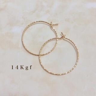 agete - 14Kgf/K14gf グリッターフープピアス リングピアス ゴールド 2㎝