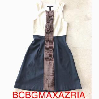 ビーシービージーマックスアズリア(BCBGMAXAZRIA)の値下げ 美品 BCBGMAXAZRIA 切り替えフレアワンピース(ひざ丈ワンピース)