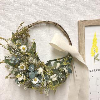 コロコロミモザ蕾のホワイトリース♡ドライフラワーリース(ドライフラワー)