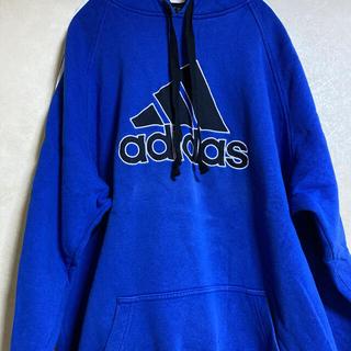 adidas - adidas❤️フードメッシュ!鮮やかブルーざっくりパーカー