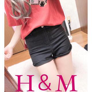 H&M - 3079.H&M ハイウエスト ストレッチ サイド折り返し ショートパンツ