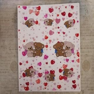テディ デザインペーパー 10枚 ホワイト用紙 マット紙(カード/レター/ラッピング)