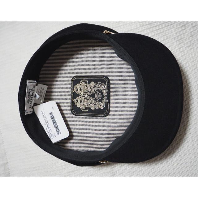 Hermes(エルメス)の新品未使用 エルメス ベル・イル キャスケット シェーヌダンクル ブラック 58 レディースの帽子(キャスケット)の商品写真