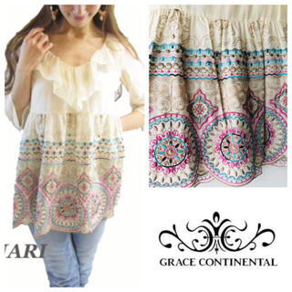 GRACE CONTINENTAL - 新品未使用♡ダク付き サークル刺繍ブラウス