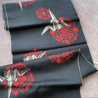 アンティーク ①銘仙 折り鶴 洗い張り済み はぎれ ハンドメイドに
