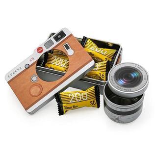 超人気バレンタインチョコ*カメラ缶(ブラウン)望遠レンズセット(菓子/デザート)