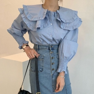 ZARA - セーラー襟 フリル シャツ ブラウス