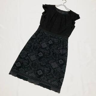 ANAYI - ANAYI アナイ 豪華♪ 刺繍切替ワンピース ブラック シフォン サイズ38