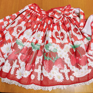 アンジェリックプリティー(Angelic Pretty)のAngelic Pretty Cherry Margurite スカート アカ(ひざ丈スカート)