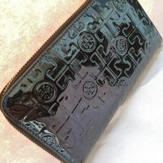 トリーバーチ(Tory Burch)の美品正規品🌷TORYBURCHラウンドファスナー長財布エナメルレザーブラック(財布)