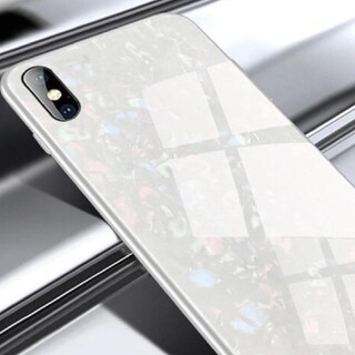 ホワイトiphone12/12pro)iphoneケース ガラスシェル キラキラ(iPhoneケース)