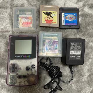 ニンテンドウ(任天堂)のゲームボーイカラー+カセット4つ(携帯用ゲームソフト)
