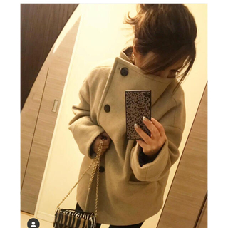 moussy - moussy big collar wool short coat