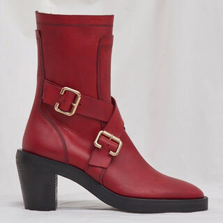 JOHN LAWRENCE SULLIVAN - KOZABURO RED BUCKLE BELT HIGH HEEL BOOTS