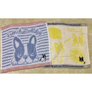 ジャガード無撚糸 ミニタオル フレンチブルドッグB 2枚組 セット 犬