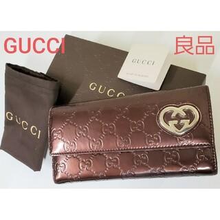 Gucci - GUCCI 良品 2つ折り長財布 シマ パテントレザー ウォレット グッチ 正規