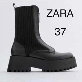 ZARA - ZARA ジップショートブーツ 厚底 ジッパー付きフラットソックスアンクルブーツ