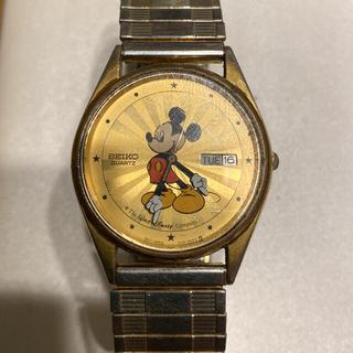 セイコー(SEIKO)の激レア❣️SEIKO ミッキークォーツ 腕時計 3針+カレンダー ゴールド文字盤(腕時計(アナログ))