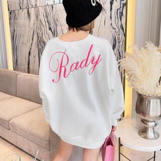 Rady - レディー バック ロゴ トレーナー ホワイト ピンク ユニセックス ネオンピンク