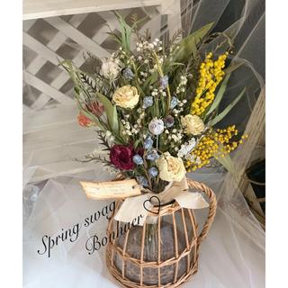 春のドライフラワースワッグ ミモザとラナンキュラスの花束ブーケ🍀40cm