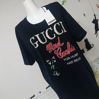 Gucci - GUCCI グッチ 新品 今期 本物 L ネコちゃん ロゴ Tシャツ ブラック