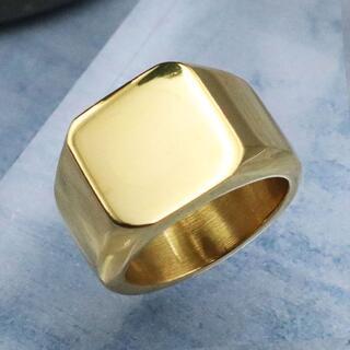 指輪 メンズ リング 印台 鏡面 スクエア ゴールド ステンレス ◎