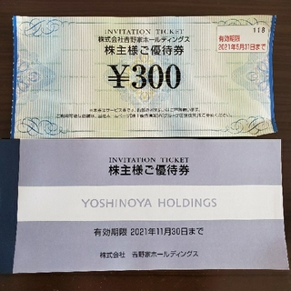 ヨシノヤ(吉野家)の吉野家 株式優待 11枚(レストラン/食事券)