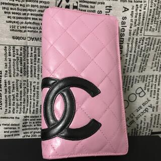 CHANEL - CHANEL カンボンライン 長財布 ピンク 黒 美品 正規品 ラムスキン