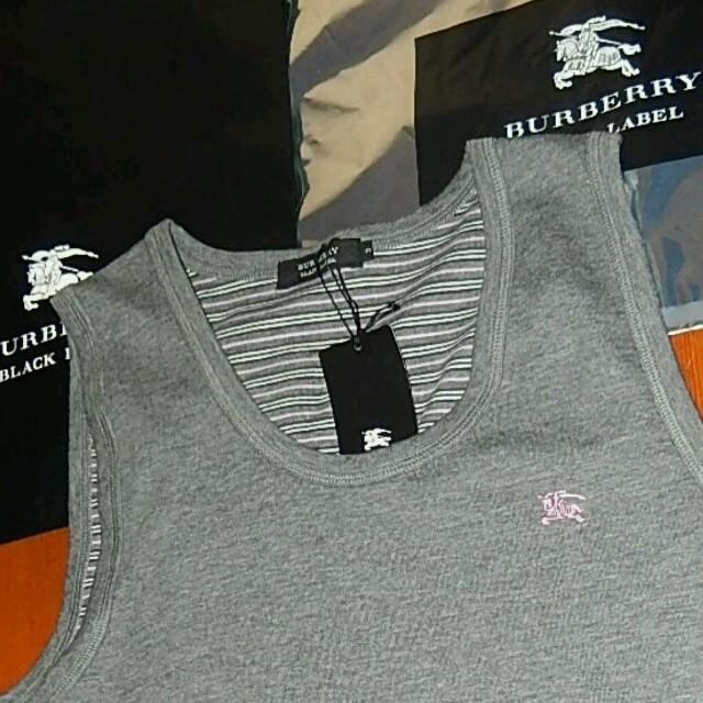 BURBERRY(バーバリー)の新品タグバーバリーブラックレーベル ボーダー加工タンクトップ 日本製 希少 メンズのトップス(タンクトップ)の商品写真