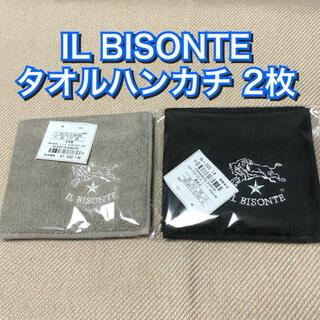 イルビゾンテ(IL BISONTE)の新品★IL BISONTE イルビゾンテ タオルハンカチ 2枚 ミニタオル 黒(ハンカチ/ポケットチーフ)