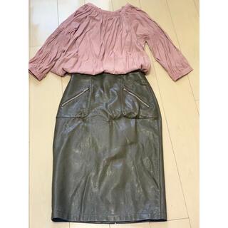 ザラ(ZARA)のZARA レザースカート(ひざ丈スカート)