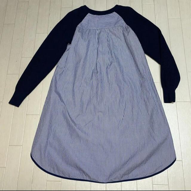 sacai luck(サカイラック)のサカイラック sacai luck 異素材ストライプシャツワンピース  レディースのワンピース(ひざ丈ワンピース)の商品写真