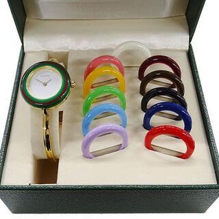 Gucci - グッチ 時計 1100L チェンジベゼル 12色 バングル クオーツ レディース