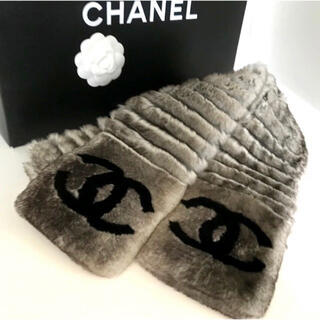 CHANEL - CHANEL オリラグ ファーマフラー ココマーク シャネル 美品
