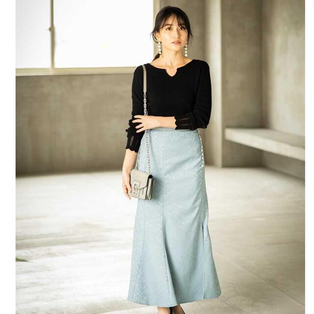 FRAY I.D(フレイアイディー)のノスタルジア《岩間恵さん着用》セミフレアスリットスカート レディースのスカート(ロングスカート)の商品写真