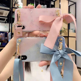 【即購入OK】大理石柄 ラメ リボンストラップ iPhoneケース(iPhoneケース)